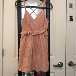 BCBG pink ruffle dress